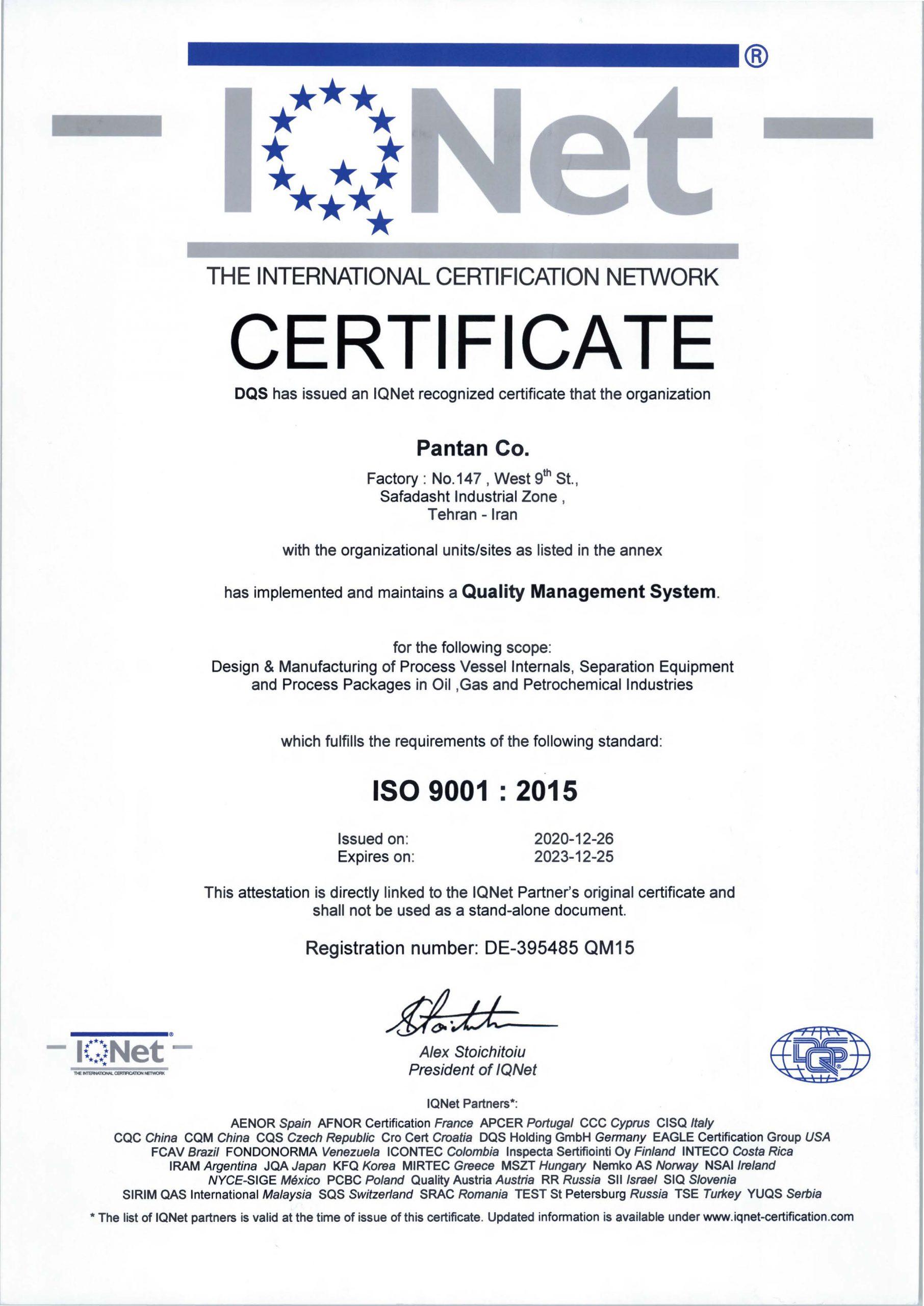 IQNet PANTAN ISO 9001:2015